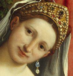Detail of the Venetian wedding tiara in  'Venus and Cupid', late 1520s  Lorenzo Lotto (Italian, Venetian, ca. 1480–1556)