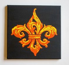 Fleur de Lis Painting, Orange & Yellow #FleurDeLis #Painting #GeauxLux #Handmade #WallArt #NewOrleans #Etsy #Saints