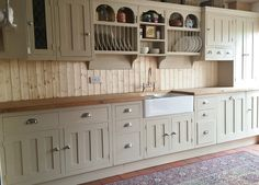 Custom made reclaimed pine painted kitchen, in Farrow & Ball 'Oxford stone' & chrome handles. Pine Kitchen, Kitchen Doors, Kitchen Units, Kitchen Handles, Kitchen Paint, Kitchen Cupboards, Kitchen Flooring, Kitchen And Bath, Upcycled Kitchen Cabinets