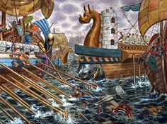 """Caesar's ship in Armorica, 56 BC"", Giuseppe Rava"