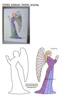 Irisvouwen: Engel biddend / Angel praying Iris Folding Templates, Iris Paper Folding, Iris Folding Pattern, Fun Fold Cards, Folded Cards, 4th November, Condolences, Jingle Bells, Folklore