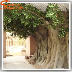 Life size cheap artificial big trees landscape plastic fake banyan tree fake tree trunks