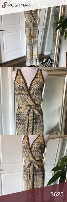 Missoni Jumpsuit! 42 / 6 tie waist Absolutely gorgeous and authentic Missoni jumpsuit! Missoni orange label  Size tag IT 42, about US 6 Pantsuit Tie waist Brown silk chiffon piping Open v back Elastic waist for comfort Brown, yellow, gold, grey, pink zig zag Smoke & pet free home Posh will authenticate this before it's shipped to you  I work Fashion. Please see my other designer items! Missoni Pants Jumpsuits & Rompers