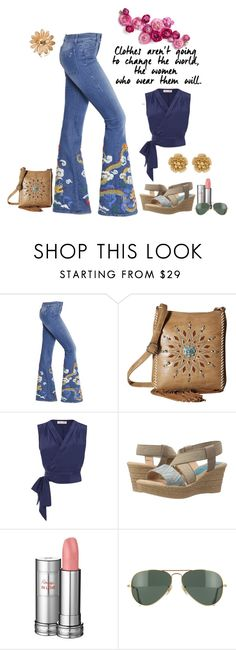 """Untitled #3391"" by empathetic ❤ liked on Polyvore featuring The Seafarer, M&F Western, Spring Step, Lancôme, Ray-Ban and Miriam Haskell"