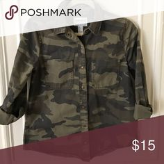 Army button down can be worn as a light jacket Awesome shirt nice loose fit so you can throw over anything Tops Button Down Shirts