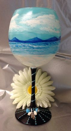 Hand painted mountains and beach wine glass with by Megthemama