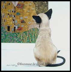 LGE SIAMESE CAT KLIMT PAINTING PRINT BY SUZANNE LE GOOD   eBay