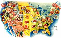 Retrophile — devilduck: Artwork by Miguel Covarrubias in. Life Map, Food Map, Food Clips, Pictorial Maps, Map Globe, Cecile, Map Design, Kitchen Art, Illustrated Maps