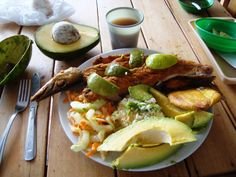 fried fish, avocados and fried plantains colombian-food