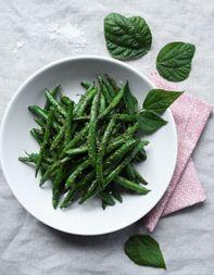Charred Beans with Bean-Leaf Pesto