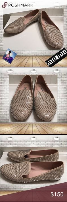 """Miu Miu Women's Leather Crystal Studded Loafers 40 Miu Miu Women's Silver Pink/Nude  Leather Crystal Studded Loafers Size 40. Size 40 is equal to 10 Miu Miu is a division of Prada!  Beautiful Brilliant Crystals surround these loaders. 1/2"""" Silver Heel.  Silver Heels have a few These are Good Worn Condition. Originally $680. No Box or Dust Bags. No Rhinestones are Missing from the Leather. Priced accordingly for condition. trades. Please ask all questions prior to buying Miu Miu Shoes Flats…"""