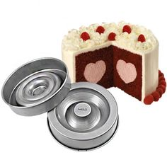 """Heart Cake Tin Set by Wilton - 8.25"""" diameter – The Craft Company. The patented recessed design creates a contour you can fill with ice cream, fruit, mousse and more – just bake, fill, flip and frost! Sweet! =)"""