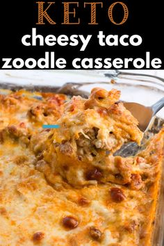 low carb Keto Taco Zoodle Casserole has all the flavor of taco mac without the carbs! Zucchini noodles, taco meat and a rich cheese sauce are baked until bubbly! The ultimate keto comfort food, under 6 net carbs per serving! Bariatric Recipes, Ketogenic Recipes, Low Carb Recipes, Ketogenic Diet, Metabolic Diet, Zoodle Casserole, Keto Casserole, Chicken Casserole, Casserole Recipes