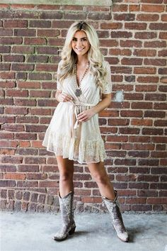 29 Cowgirl Dresses Ideas To Try - Giant Glam Country Dresses, Country Outfits, Brown Ankle Boots Outfit, Dresses With Cowboy Boots, Cowgirl Outfits For Women Dresses, Dress Outfits, Fashion Outfits, Fashion Styles, Dresses Dresses