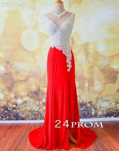 Amazing Red V neckline Chiffon Long Prom Dresses, Evening Dresses – 24prom #prom #promdress #promdresses #dress