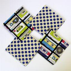 4 x Reversible Fabric Coasters - Retro Music casettes & blue polka dots www.madeit.com.au/monkeyandbee