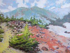"Katya Coad, A Place on Earth (Mount Lassen, CA), 20"" x 16"", Acrylic on canvas - SOLD"