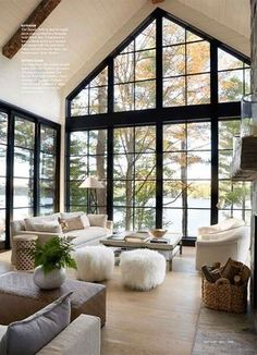 Home Interior Layout Vaulted ceilings black framed windows // Anne Hepfer Designs.Home Interior Layout Vaulted ceilings black framed windows // Anne Hepfer Designs Interior Room Decoration, Living Room Interior, Home Living Room, Home Interior Design, Exterior Design, Decoration Crafts, Interior Modern, Minimalist Interior, Apartment Living