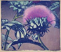Artichoke - woodcut, about 1935 - Mabel Royds (1874-1941, U.K.)