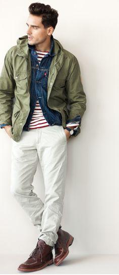 Green military jacket, red striped naval shirt, white jeans, desert boots; whereisthecool.com