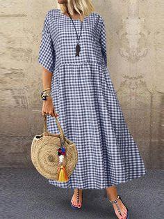 Women Casual Loose Plaid Print O-Neck Half Sleeve Dress
