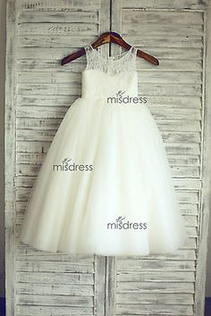2015 Lace Tulle Flower Girl Dress Wedding Easter Junior Bridesmaid Baptism Baby