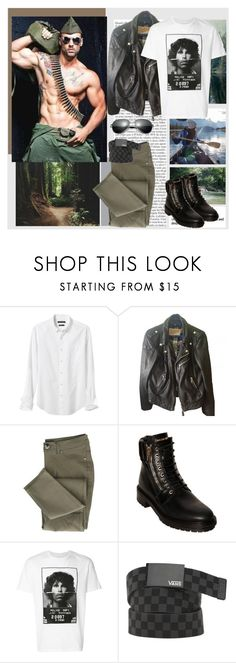 """Fool Like You"" by lablanchenoire ❤ liked on Polyvore featuring Banana Republic, Schott NYC, Balmain, Neil Barrett, Vans, men's fashion and menswear"