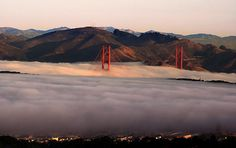 San Francisco, California is famous for its summertime advection fog.  Warm, moist air from over the Pacific Ocean blows over the cold California current just offshore. This cools the eastward moving air below its dew point and thereby creates fog. Advection fog is brought onshore by sea breezes. If the fog is accompanied by light wind, a thicker layer of air cools and the fog can grow to be up to 600 m (2,000 feet) thick.