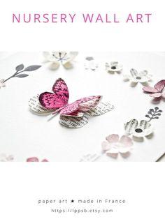 Baby girl nursery wall art by @LPPSB | Handmade in France | Framed paper butterflies and flowers, nursery decoration