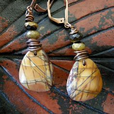 Earrings Red Creek Jasper Tiger Eyes and Copper by coldfeetjewelry, $44.00