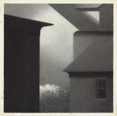 "Eaves with Dark Window. Robert Kipniss. Pencil drawing on mylar, 1990. Image size 13 1/2 x 13 1/2"" (343 x 343 mm)."