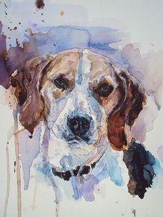 Portrait personnalisé pet 12 x 16. Peinture à l'aquarelle. Mimilove