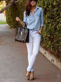 chambray and white pants/ or white skirt! Would be perfect for casual look