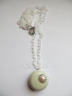 Pastel Green Macaron Resin Necklace by KiyoKee on Etsy