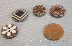 auth 60s vtg LEA STEIN BUTTON LOT 4 ASSORTED brown carved layered mixed lotB