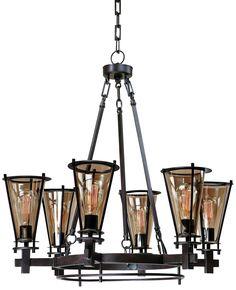Uttermost Frisco Rustic Black 32-Inch-W Chandelier - #EU5F183 - Euro Style Lighting