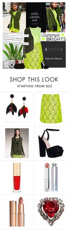 """Summer Brights: Christopher Kane"" by jleigh329 ❤ liked on Polyvore featuring Oris, Marni, Christopher Kane, KG Kurt Geiger, Nikon, Dolce&Gabbana, Christian Dior, Charlotte Tilbury and Judith Leiber"