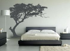 I love the minimalist style, but the tree mural is amazing. 25 Fantastic Minimalist Bedroom Ideas