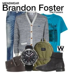 """The Fosters"" by wearwhatyouwatch ❤ liked on Polyvore featuring Armani Jeans, Aéropostale, Vivienne Westwood, STATE Bags, Lanvin, Alpina, Marsèll, men's fashion, menswear and television"