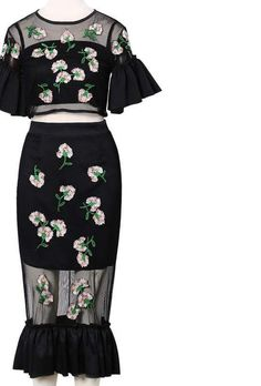 Two Pieces Set Vintage Embroidery Floral Skirt