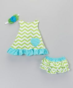 Take a look at this Turquoise & Lime Green Zigzag Swing Top Set - Infant & Toddler by Fairytales & Fantasies on #zulily today!