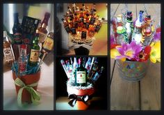 How to elevate items in a gift basket with styro foam, skewer sticks, hot glue. Liquor Bouquet, Candy Bouquet, Creative Gifts, Cool Gifts, Diy Gifts, 21st Birthday Presents, Birthday Gifts, Alcohol Basket, Liquor Shots
