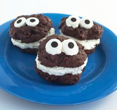 C is for Cookie Monster Brownie Sandwich Cookies! Perfect for Halloween, or for any Sesame Street fan, these cookies are not scary, but sweet. Creamy buttercream frosting sandwiched between two chewy brownies.