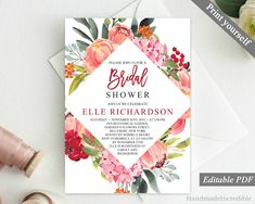 Pink and Red Floral Bridal Shower Invitation Template. Printable Shower Invitation. Modern Elegant Flower Spring Calligraphy Download PDF http://etsy.me/2FaChGC #papergoods #pink #bridalshower #red #bridal #shower #invitation #template #printable