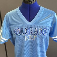 School spirit never looked so good! #KappaKappaGamma sports jersey from All Stitched and Glitzed Out. (Front)