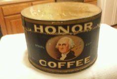 Honor Coffee , Antique adv tin can , George Washington Duluth Minn