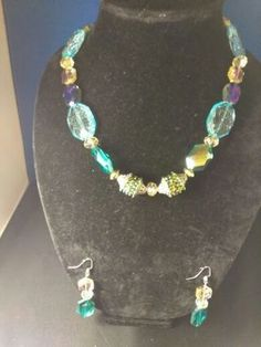 Beautiful+Necklace+Set+Made+with+Green,+Blue+and+Gold+Glass+Beads+Toggle+Clasp!    FREE+USPS+2-3+Day+Shipping+&+Tracking+Included!