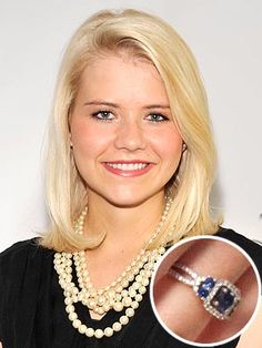Elizabeth Smart Engagement Ring - this is pretty much my perfect ring if the middle was a white diamond!
