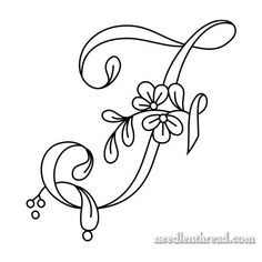 Floral Script Monogram for Hand Embroidery: F Embroidery Alphabet, Embroidery Monogram, Embroidery Stitches, Hand Embroidery, Machine Embroidery, Embroidery Designs, Monogram Stencil, Stencil Lettering, Monogram Letters