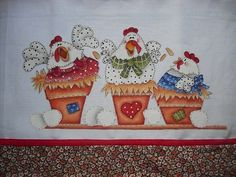 three hens in pots paint pattern Colchas Country, Country Quilts, Country Crafts, Wood Craft Patterns, Painting Patterns, Quilt Patterns, Pintura Country, Tole Painting, Fabric Painting